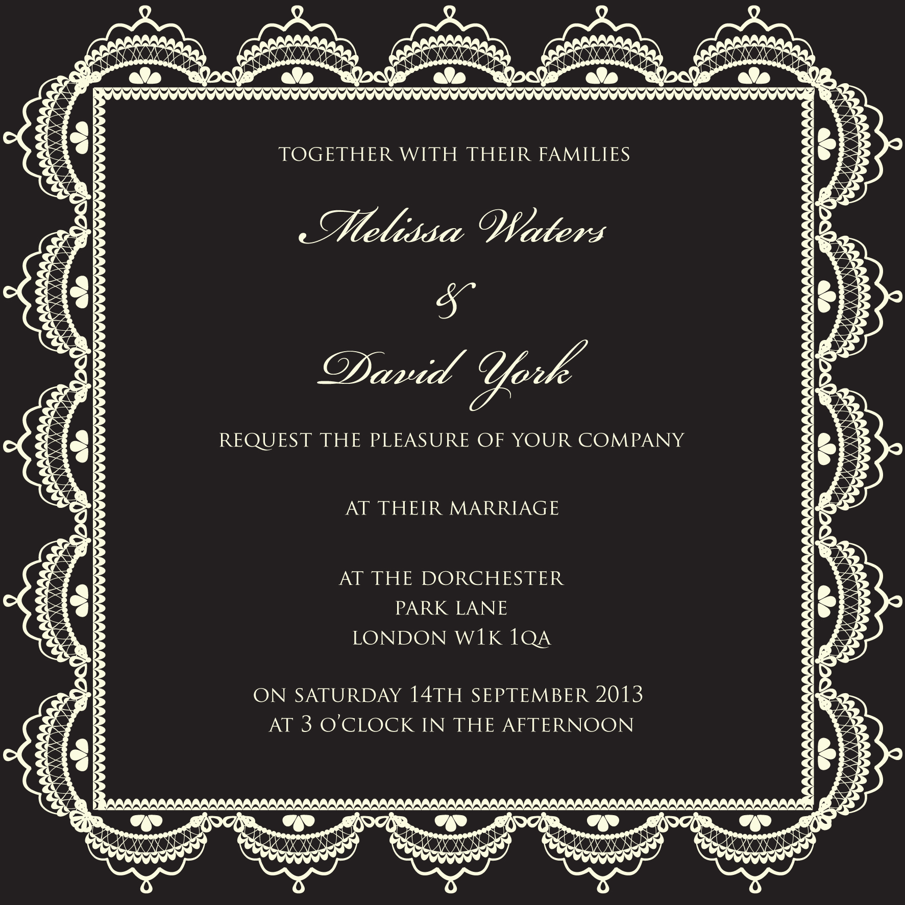 Black and white lace wedding invitation. Autumn winter trends 2013 by Ananyacards.com