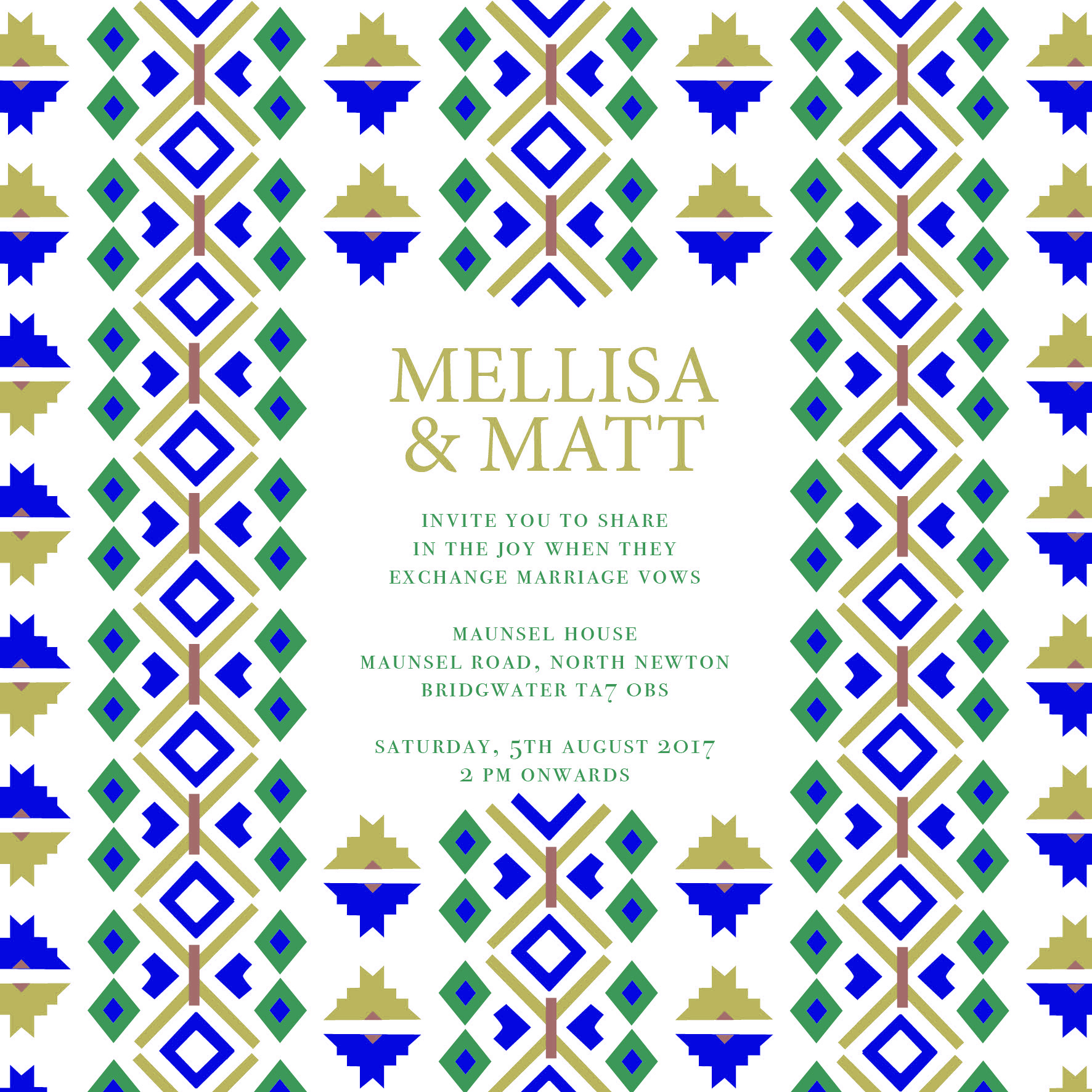 Blue and gold tribal wedding invitation_ananyacards.com