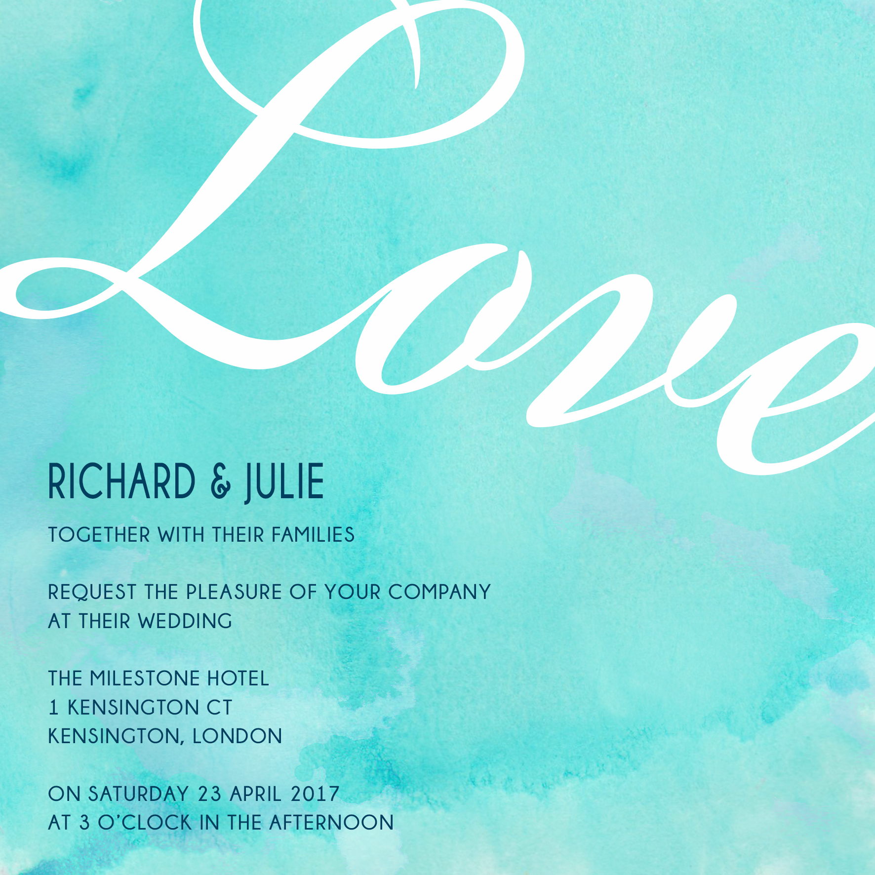 Blue watercolour wedding invitation_ananyacards.com