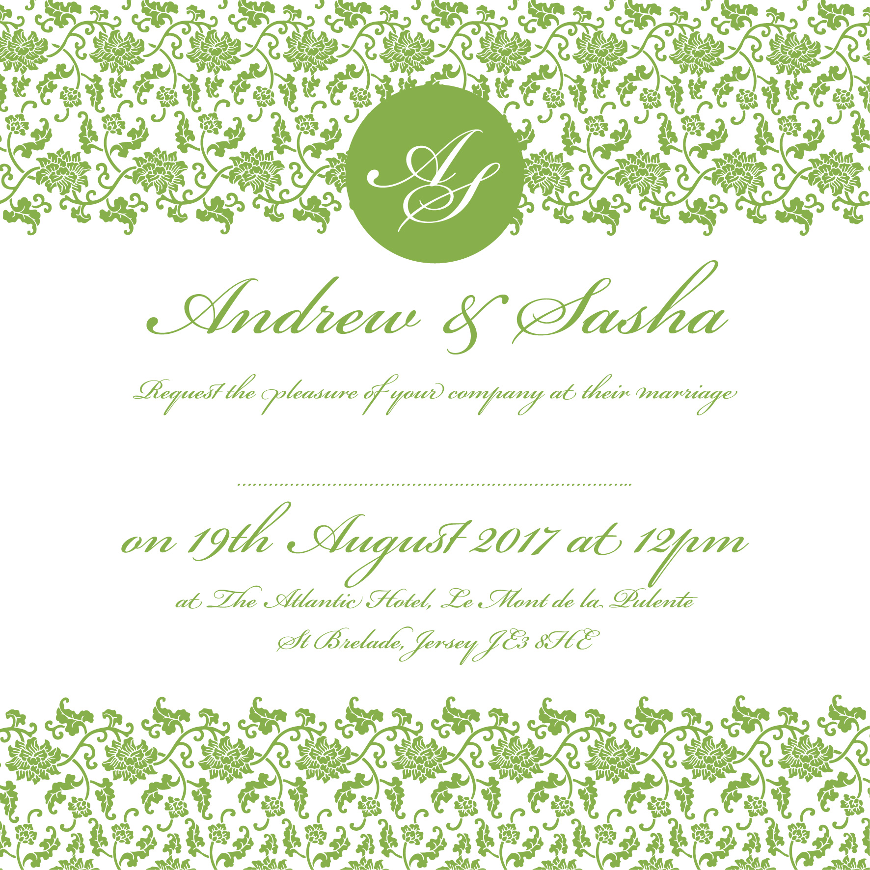 Pantone greenery wedding invitation_ananyacards.com