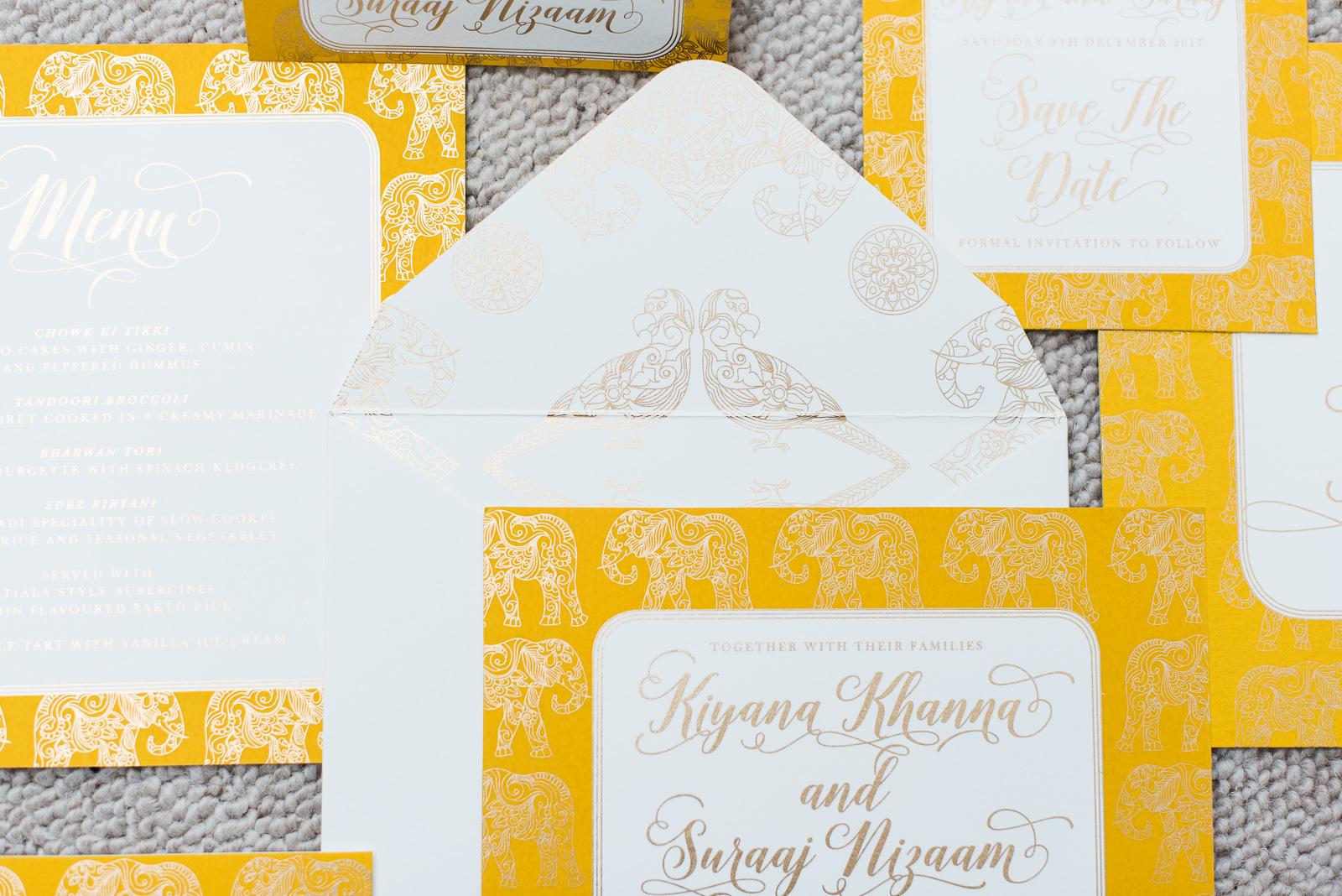 Ananya's 'Trio of Life' screen printed bespoke wedding stationery: elephant  Photography by  Fiona Kelly Photography
