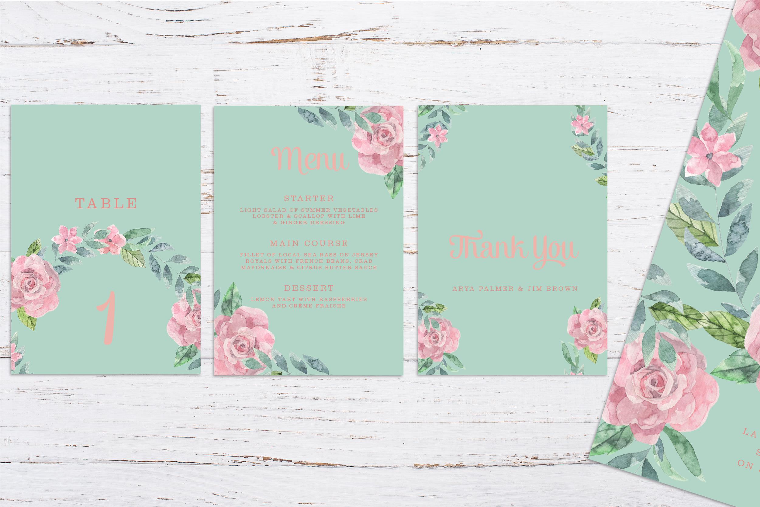 Digital printed floral wedding stationery