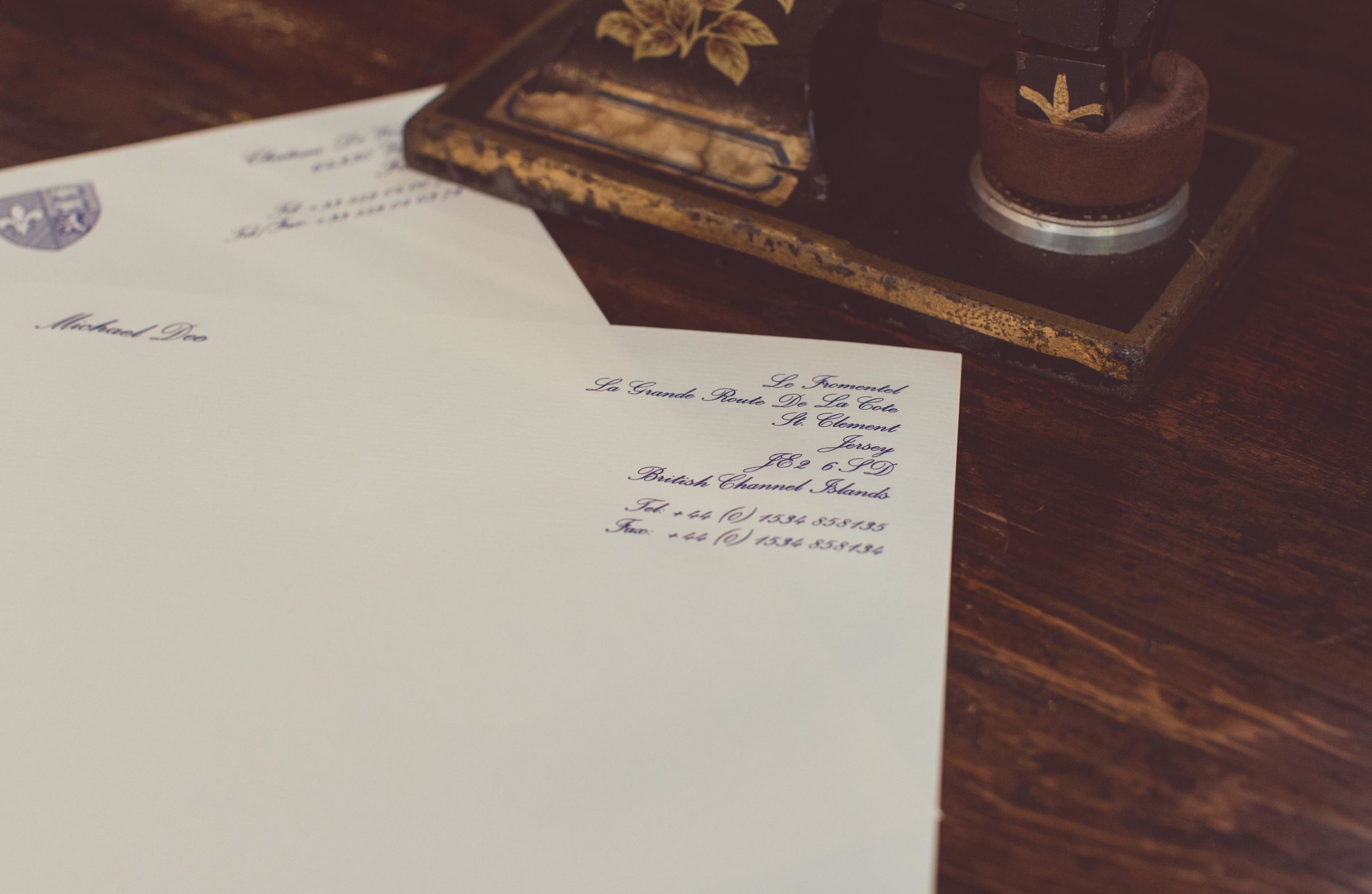 Engraved personal stationery