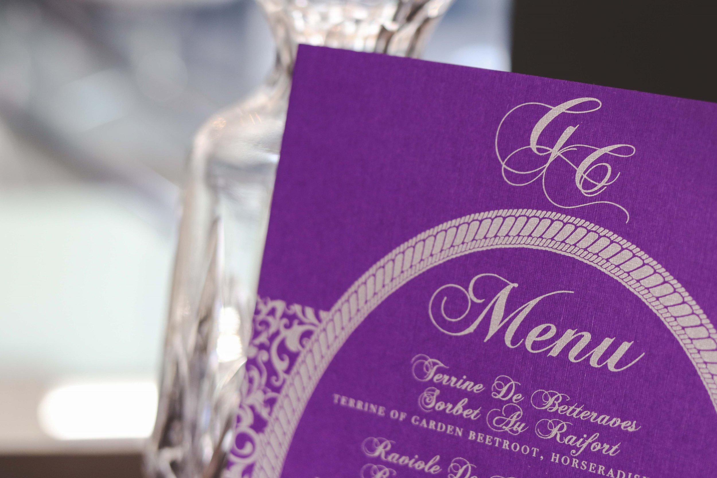 Menu in purple and silver