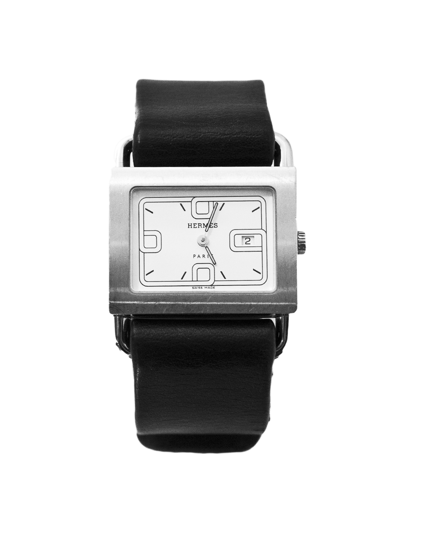 HERMES stainless steel square face barenia quartz watch w 2 straps 100-11251 7.jpg