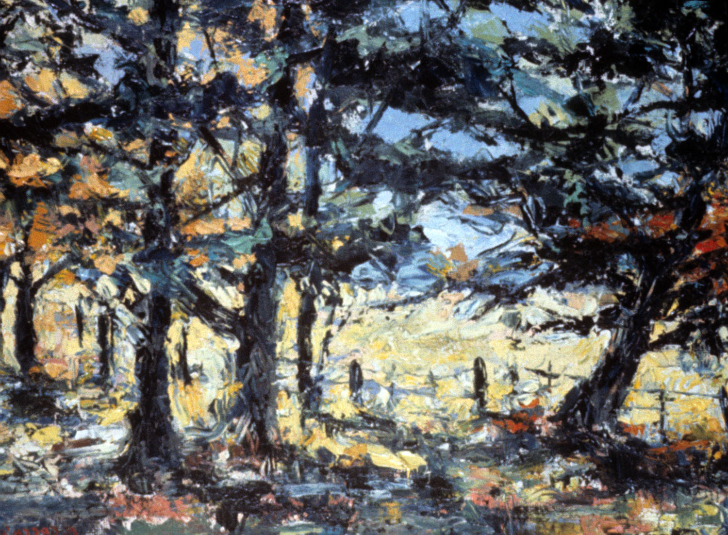 Landscape 1, 1966, oil on board.