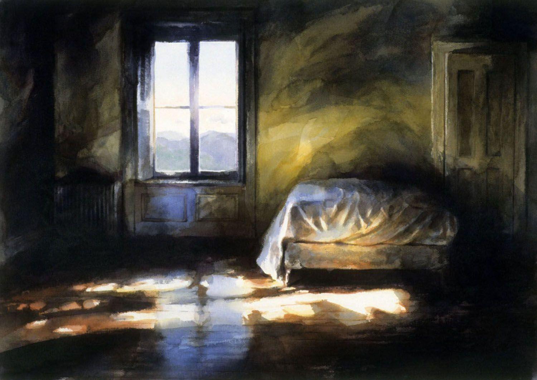 """Bed (Second floor, facing West Point, Castle Rock)"" 1989. 94 x"