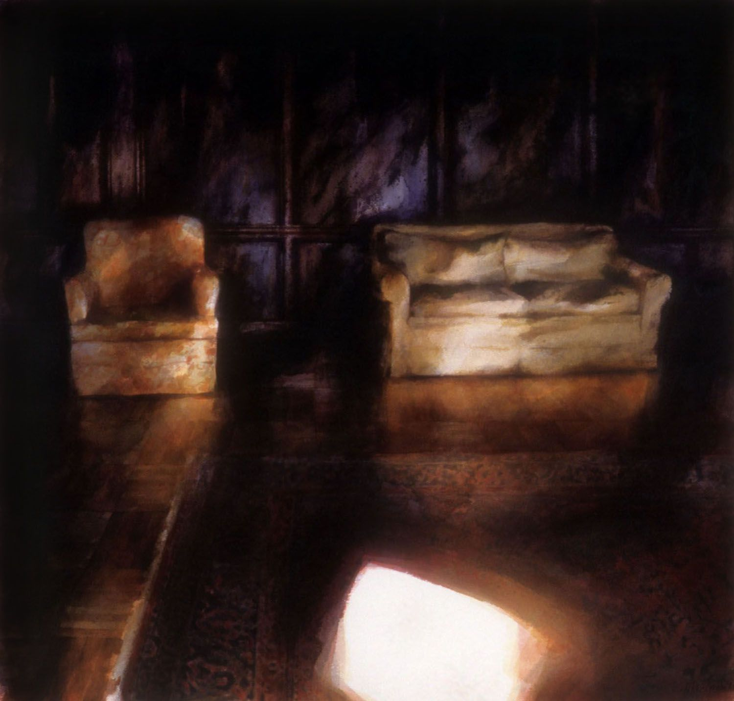 """""""Chair and Sofa (Illuminated in a dark panelled room, Castle Roc"""
