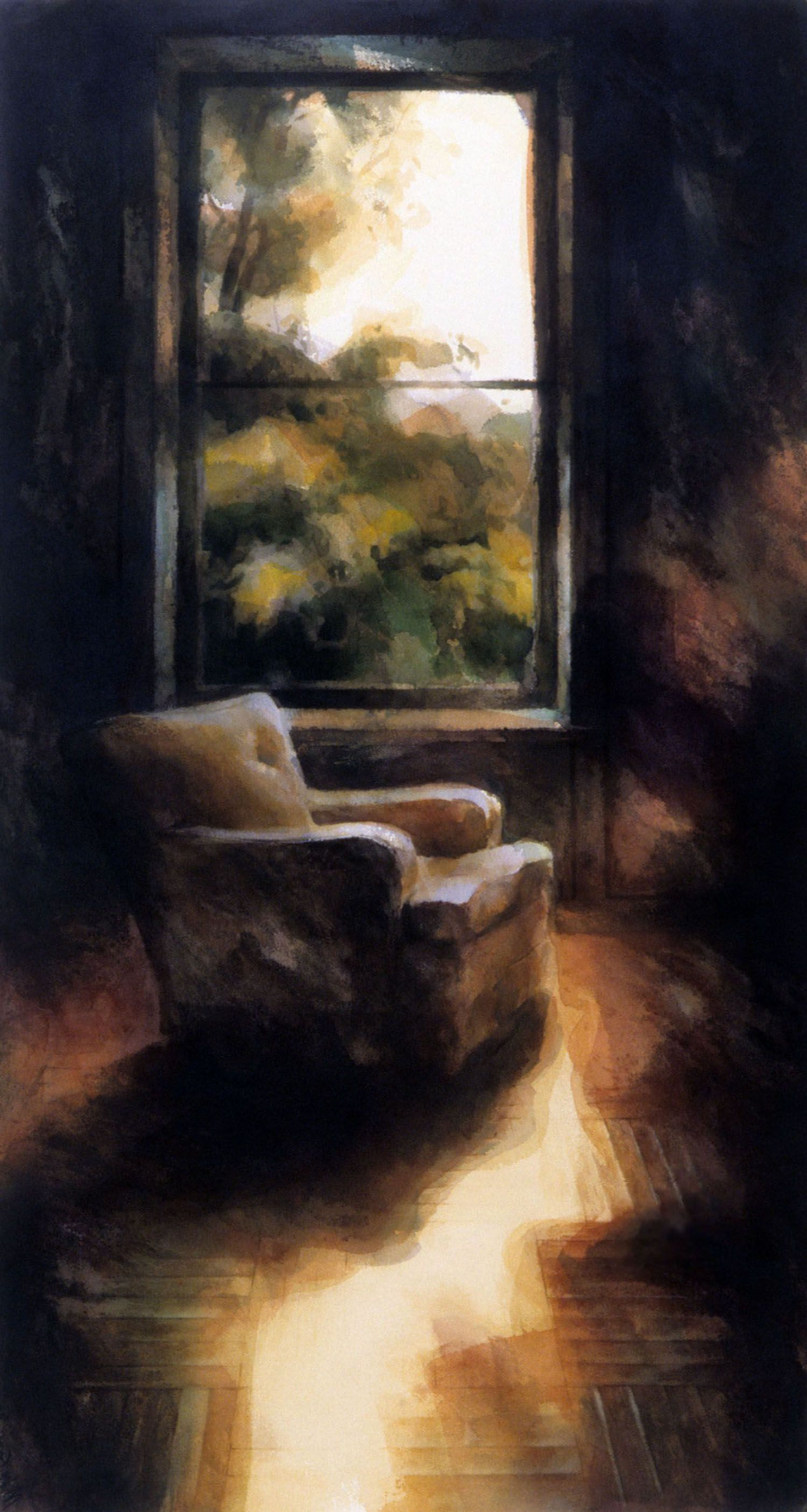 """""""Chair with Grey and Yellow (By window, large room, Castle Rock)"""