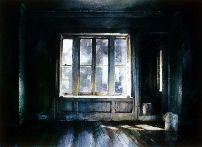 """Hudson River Window, Castle Rock"" 1989. 71 x 101cm"