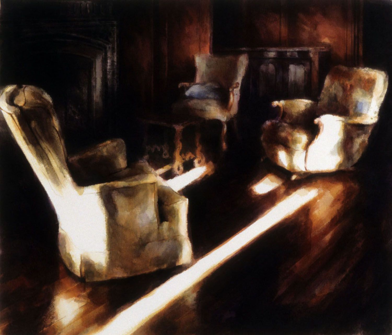 """""""Three Chairs, blue cushion (( study with fireplace, Castle Rock"""