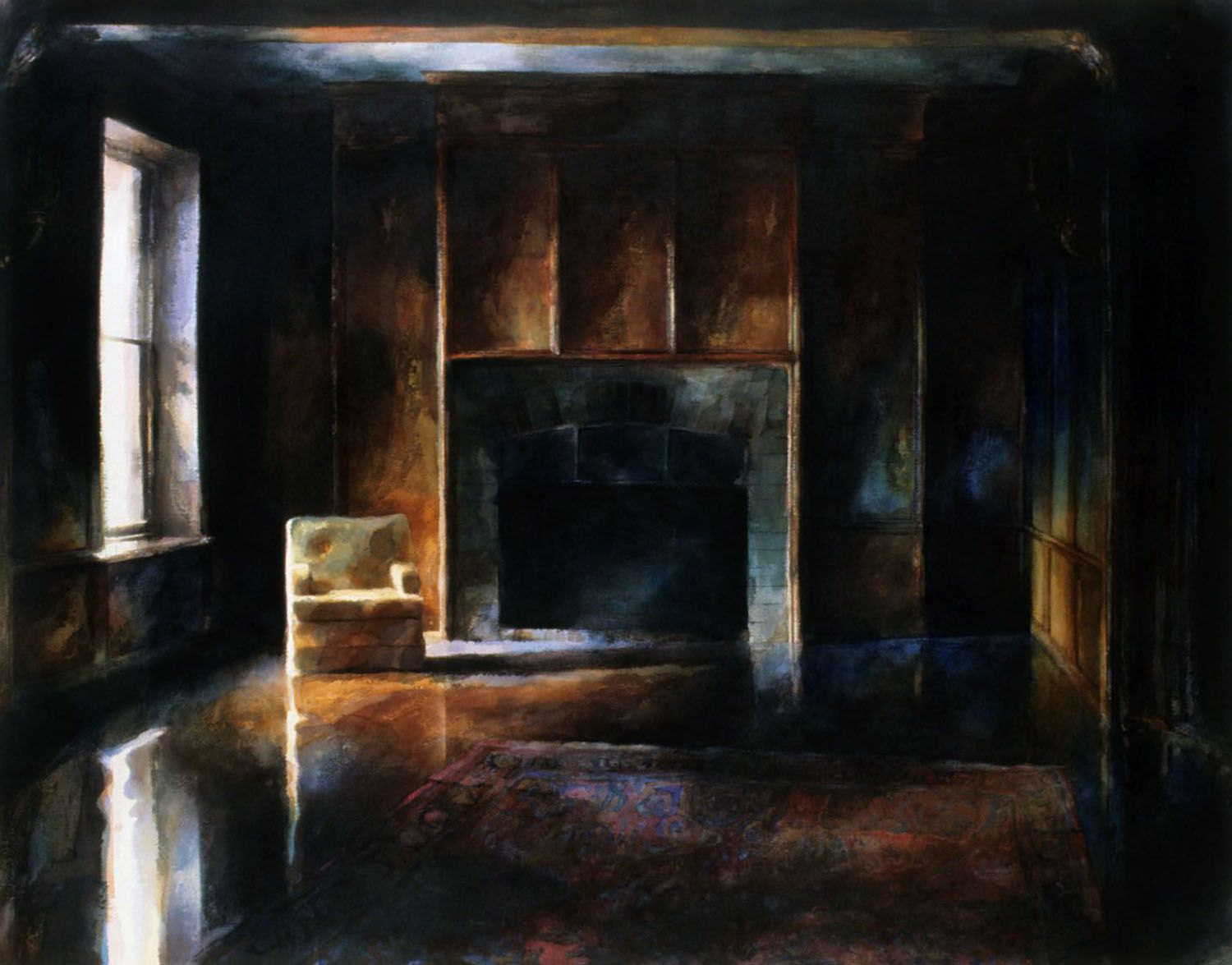 """""""One Chair (Large dark panelled room with fireplace, Castle Rock"""