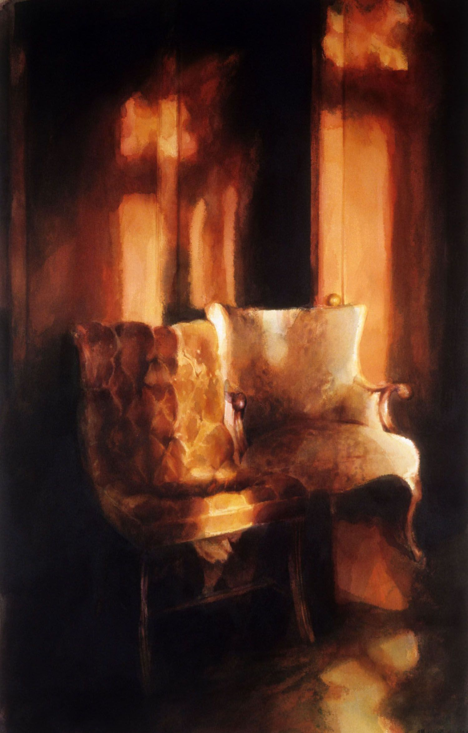 """""""Two chairs, orange light (Panelled study, first floor, Castle R"""