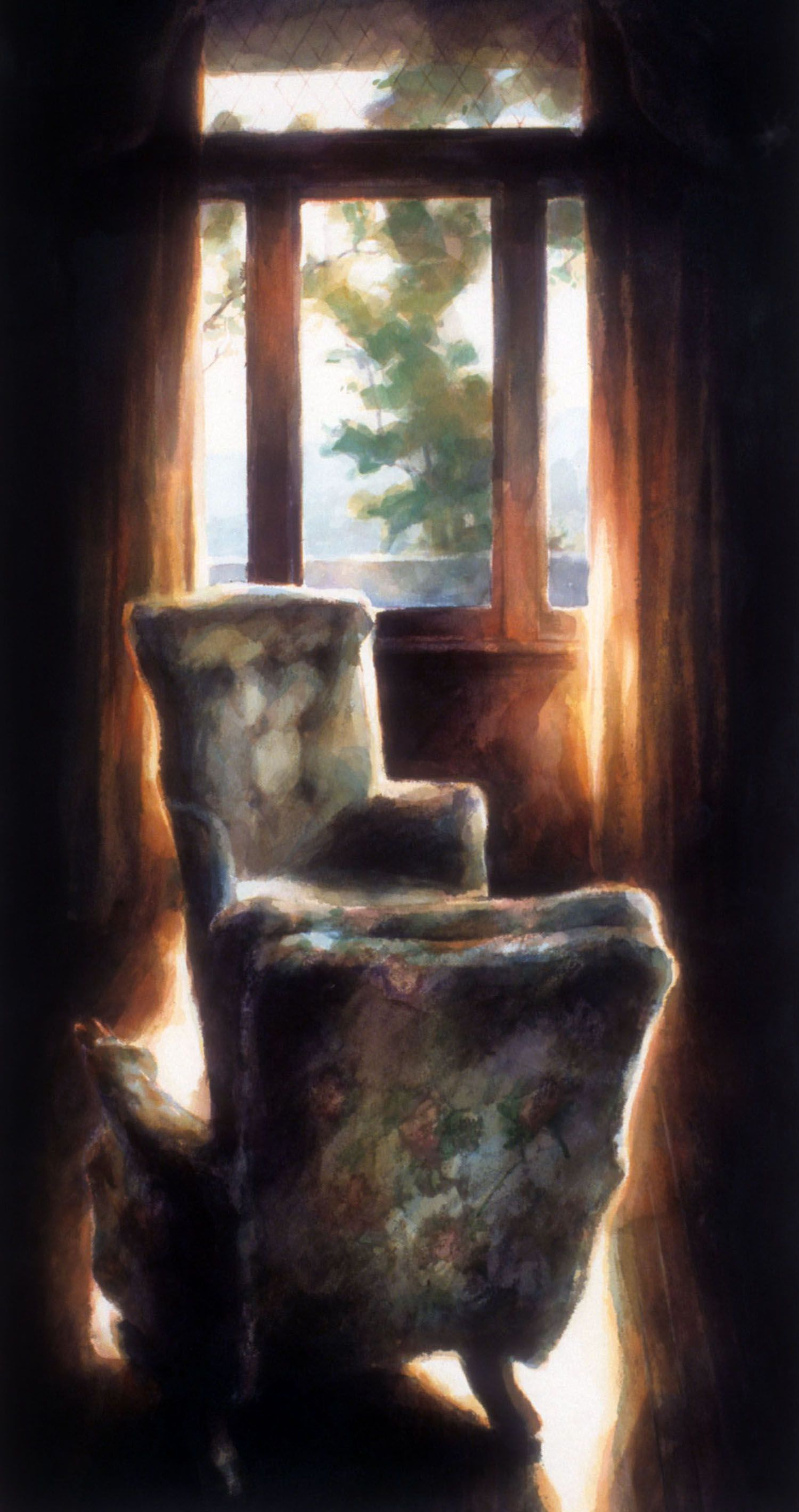 """""""Two chairs (panelled study overlooking Highlands, Castle Rock)"""""""