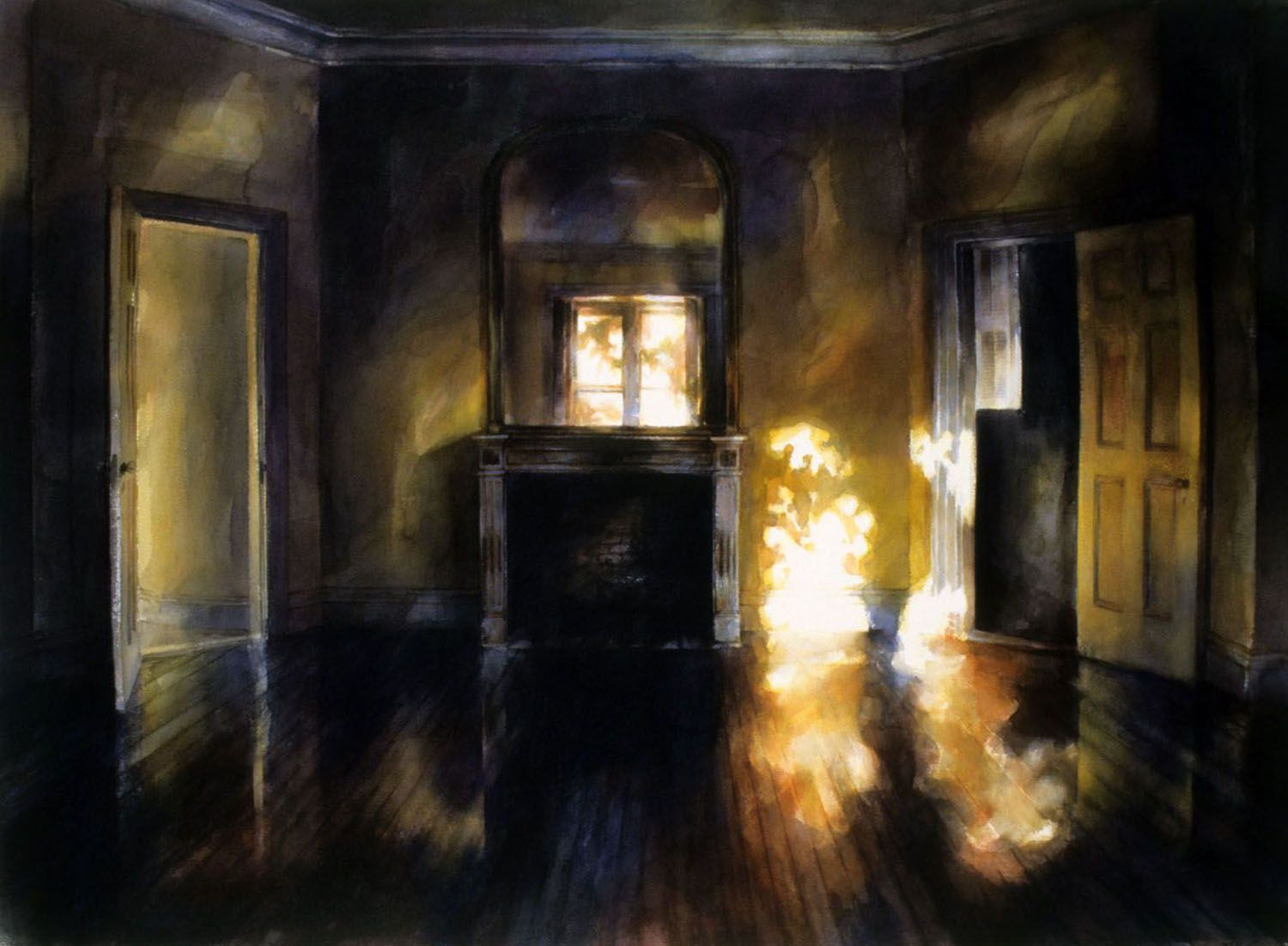 """""""Yellow Bedroom (Main bedroom, with fireplace - at sunset, Castl"""
