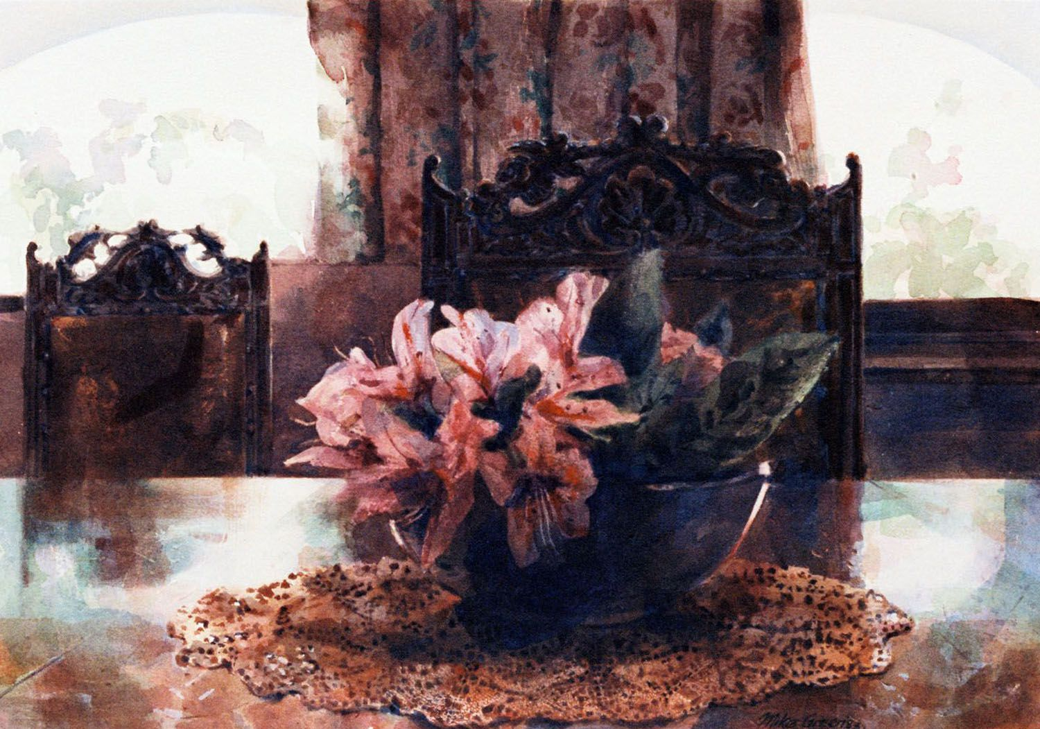 """Dining Room, Larnoo"" (Flowers) watercolour"