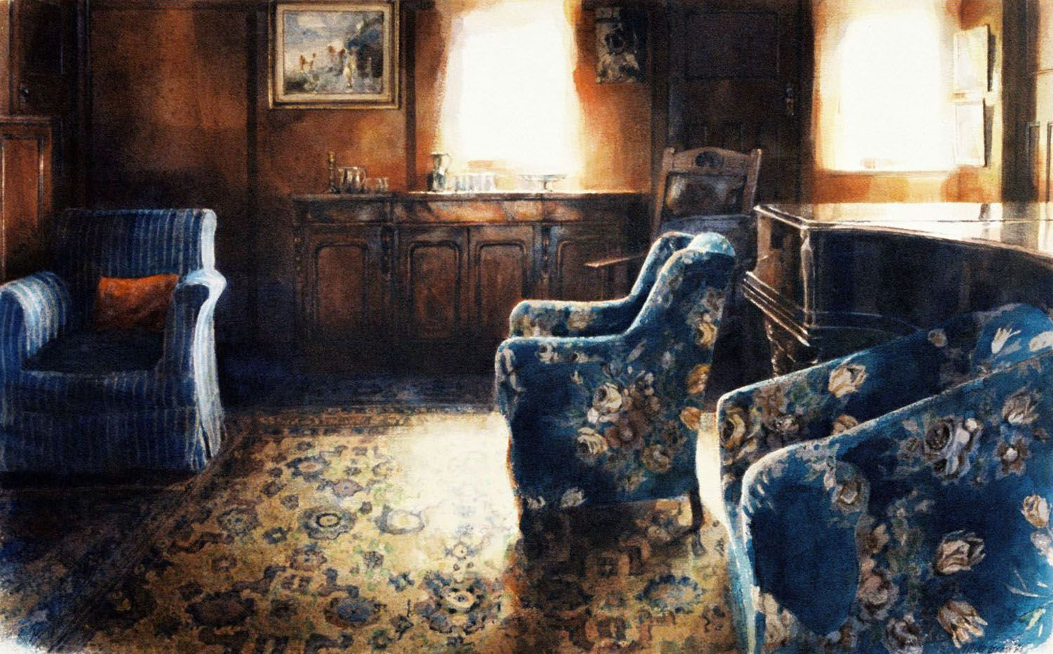 """The large Sitting Room, Larnoo"" Watercolour"