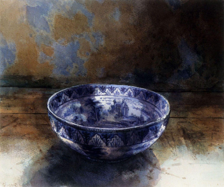 """Blue bowl, Barwon Park. 1991, 26.5 x 32cm"