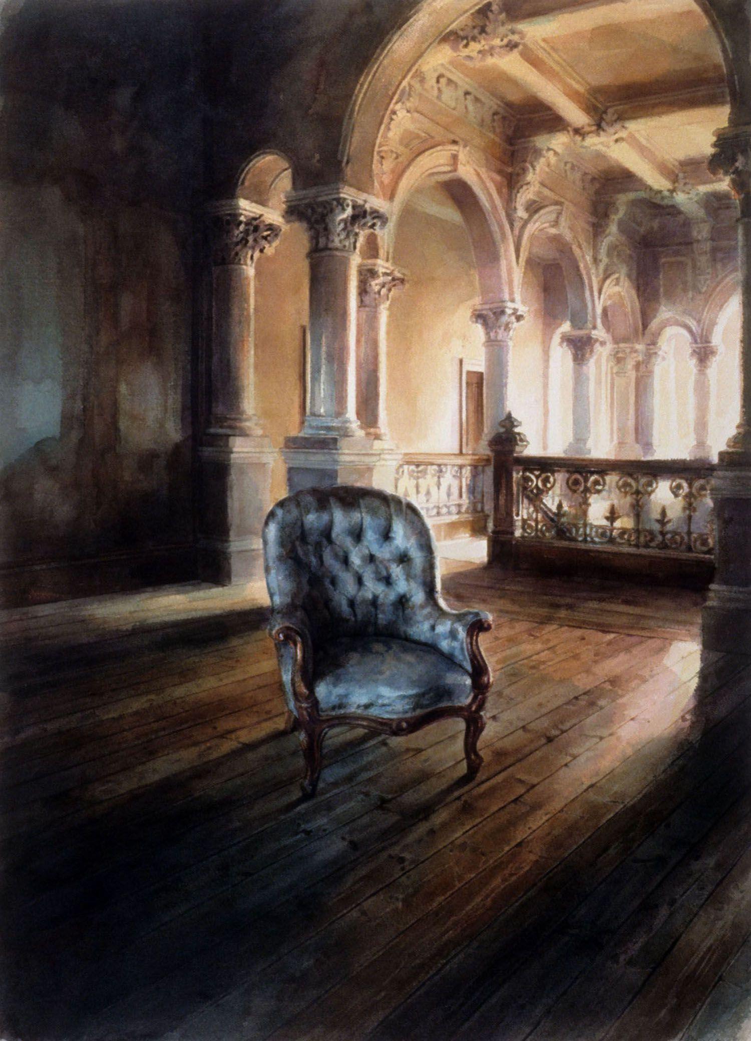 """""""Pale blue chair, Barwon park"""", 1991. 88 x 62cm"""