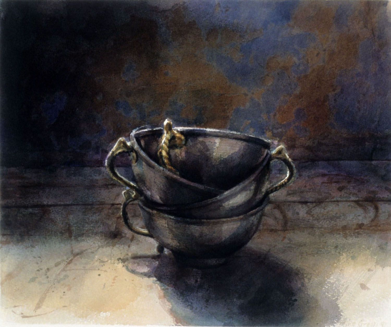 """Silver bowls, Barwon Park"", 1991. 26.5 x  32.5cm"
