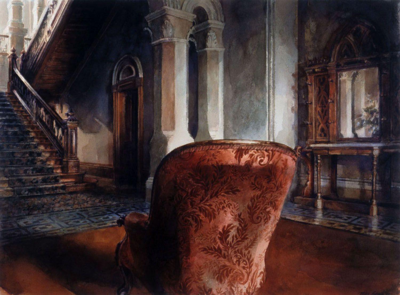 """Orange Chair, Barwon Park"", 1991. 84 x 102cm"