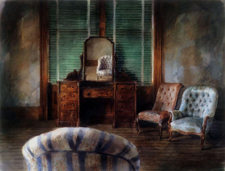 """Three chairs, Barwin park"" 1991. 61.5 x 82"