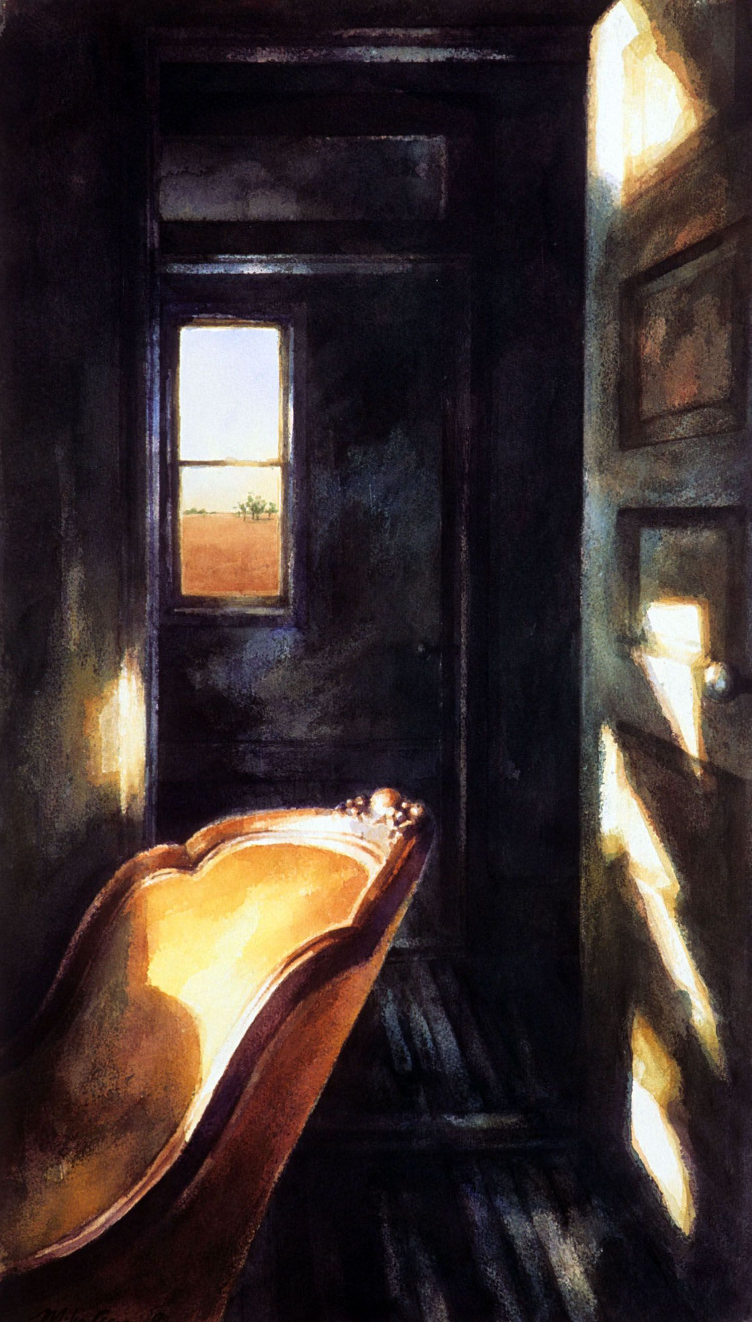 """""""Yellow chair and window in a dark room"""" 1990"""