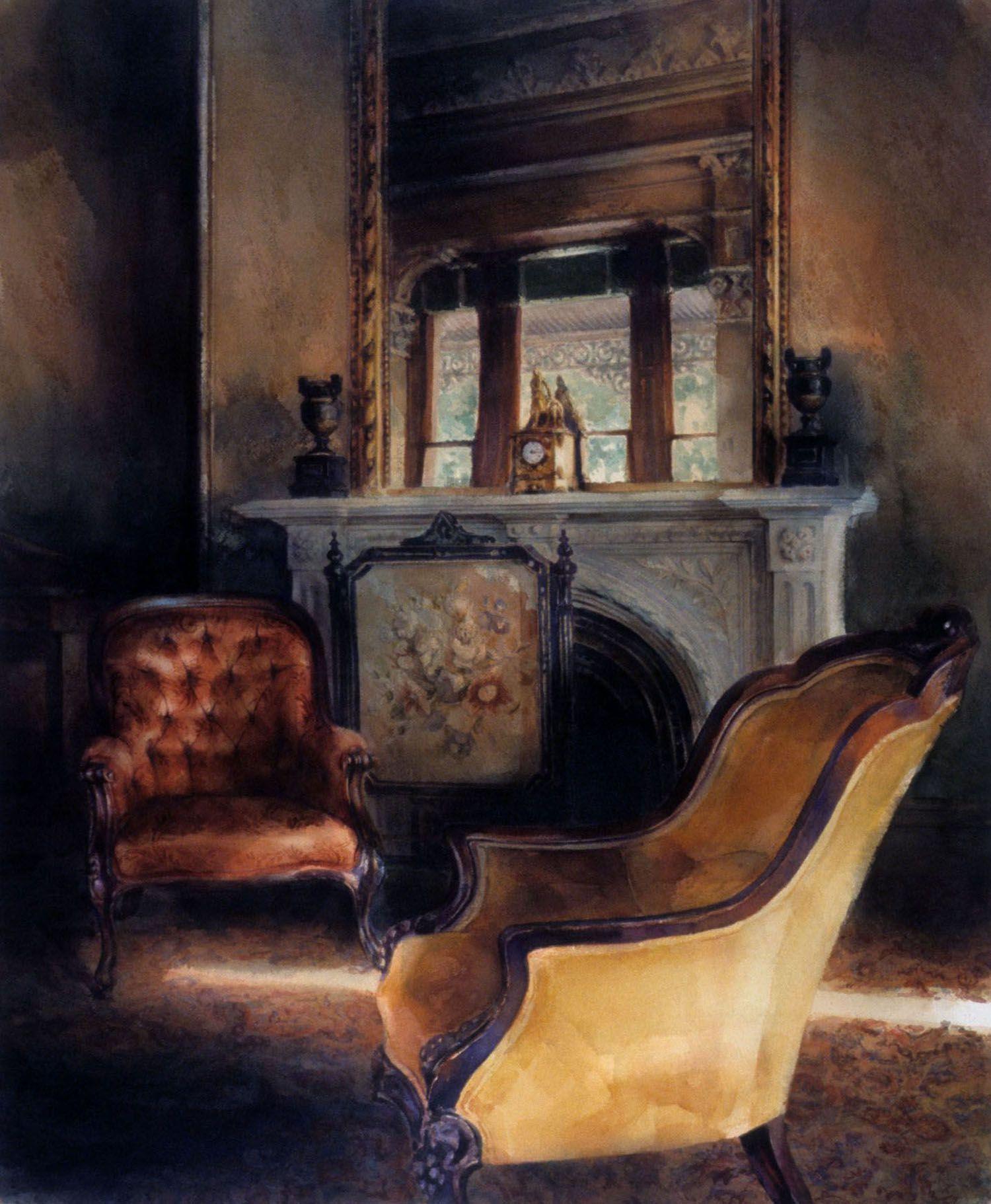 """Yellow chair, Barwon Park"", 1991. 84 x 67cm"