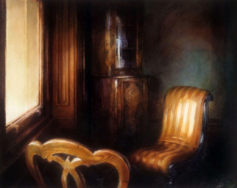 """Yellow striped chair, Barwon park"", 1991"