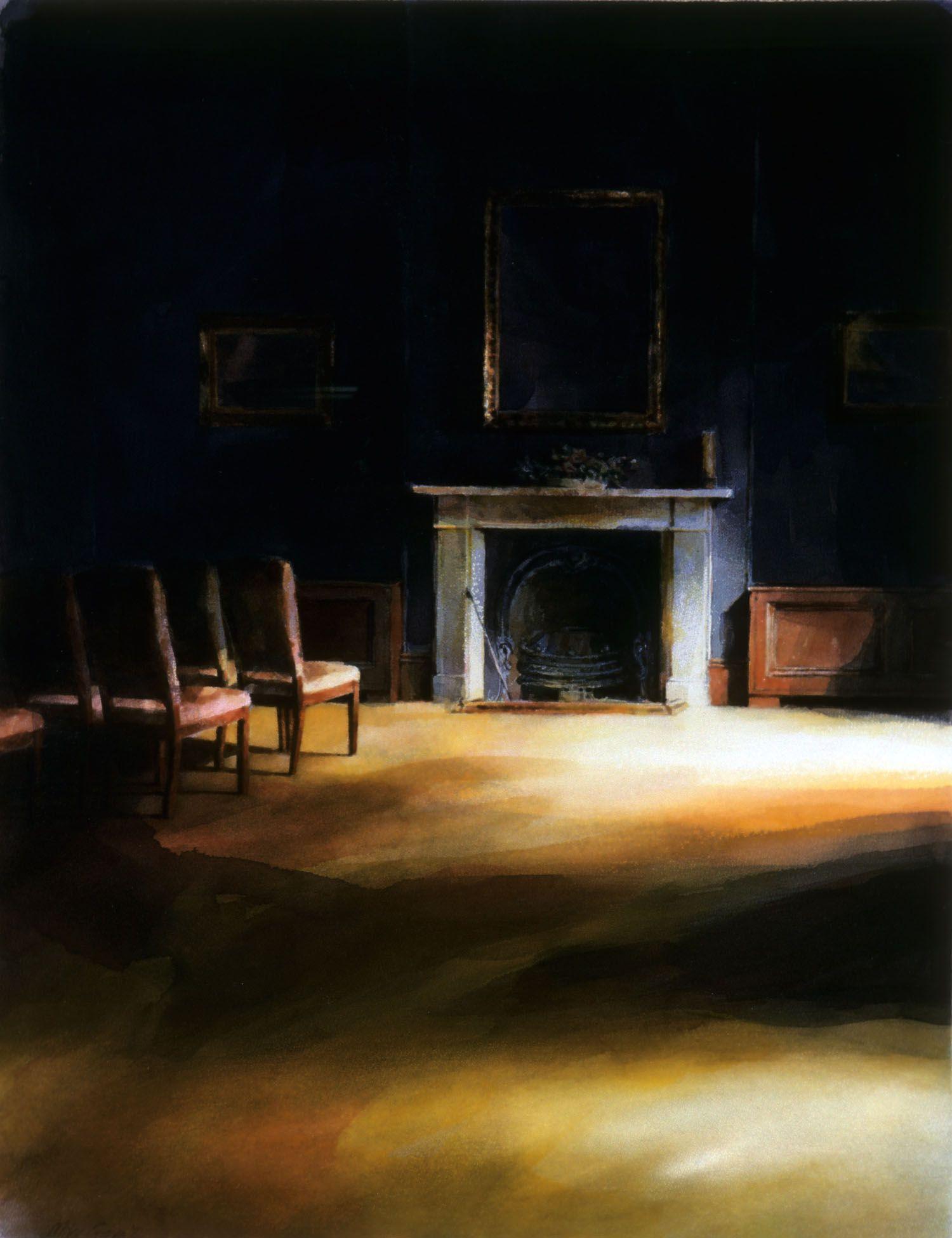 """Dark room with yellow"" 1986. 101 x 78cm"