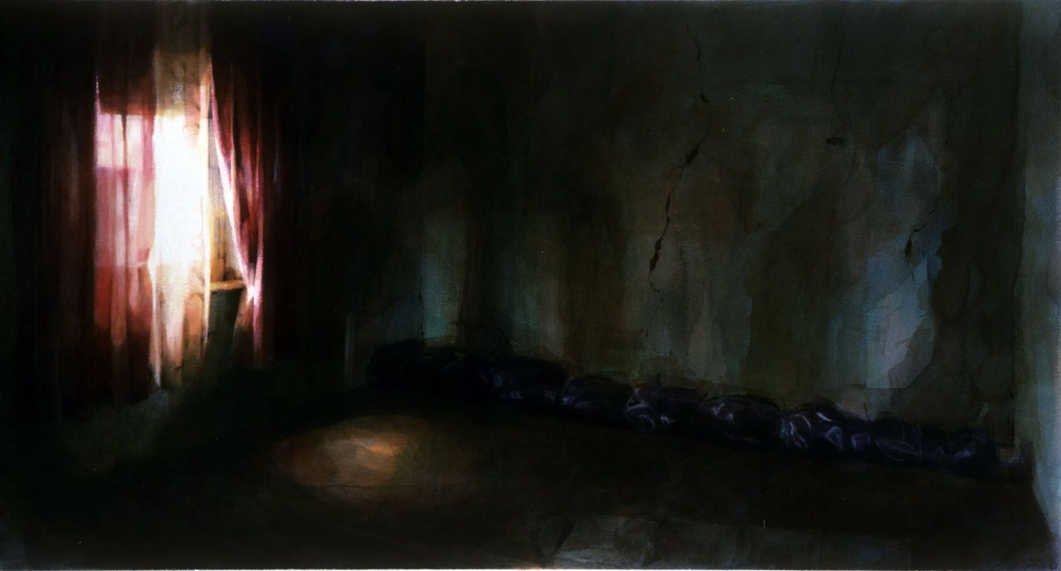 """""""Room with wrapped black plastic object"""" 1986. 67 x 117cm"""