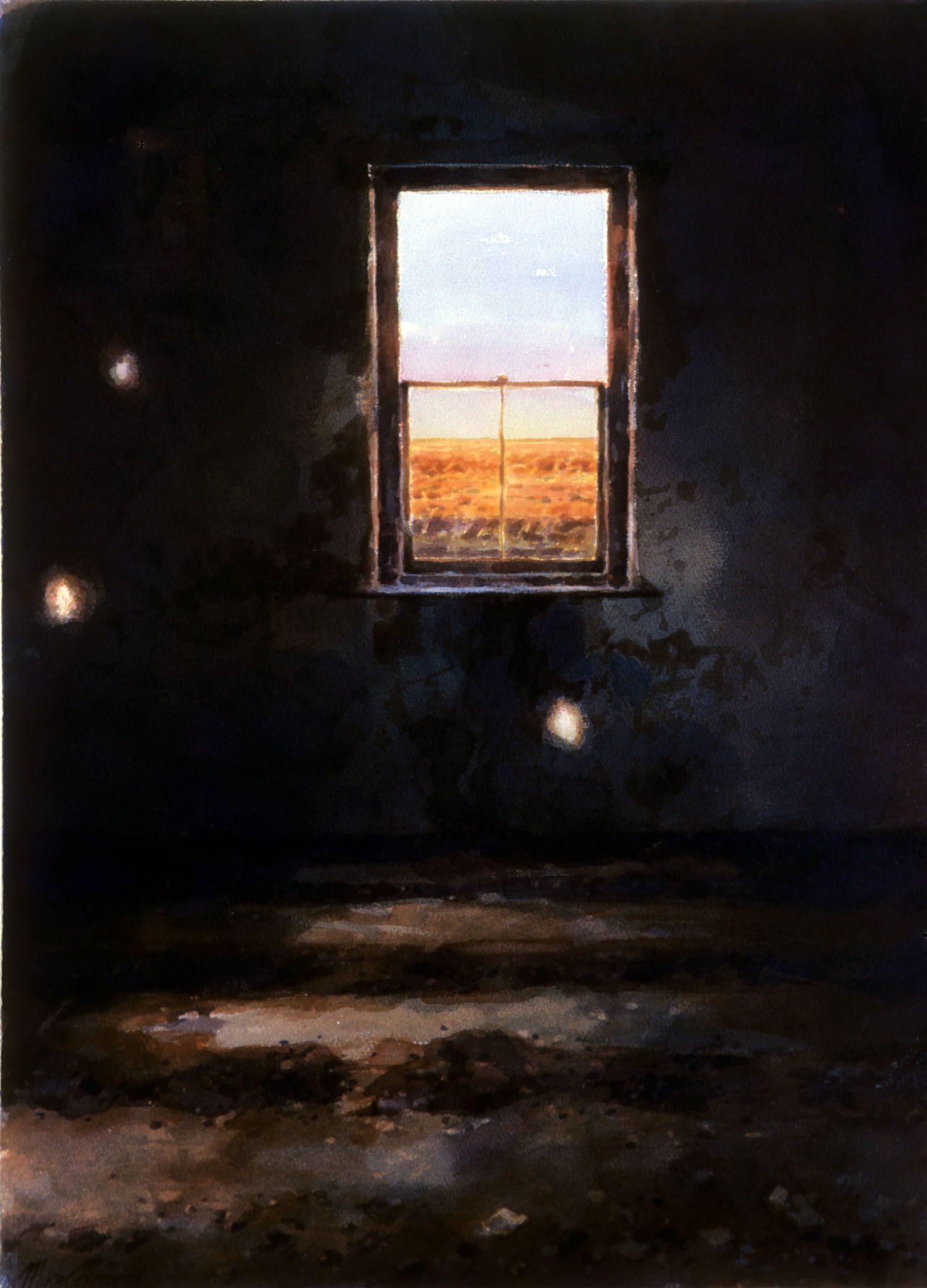 """Room with three light spots"" 1986. 74 x 53cm"