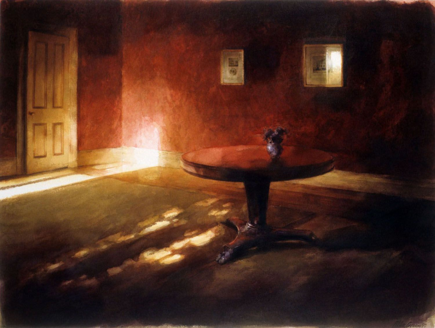 """""""Table in Red room"""" 1990. 69 x 93cm"""