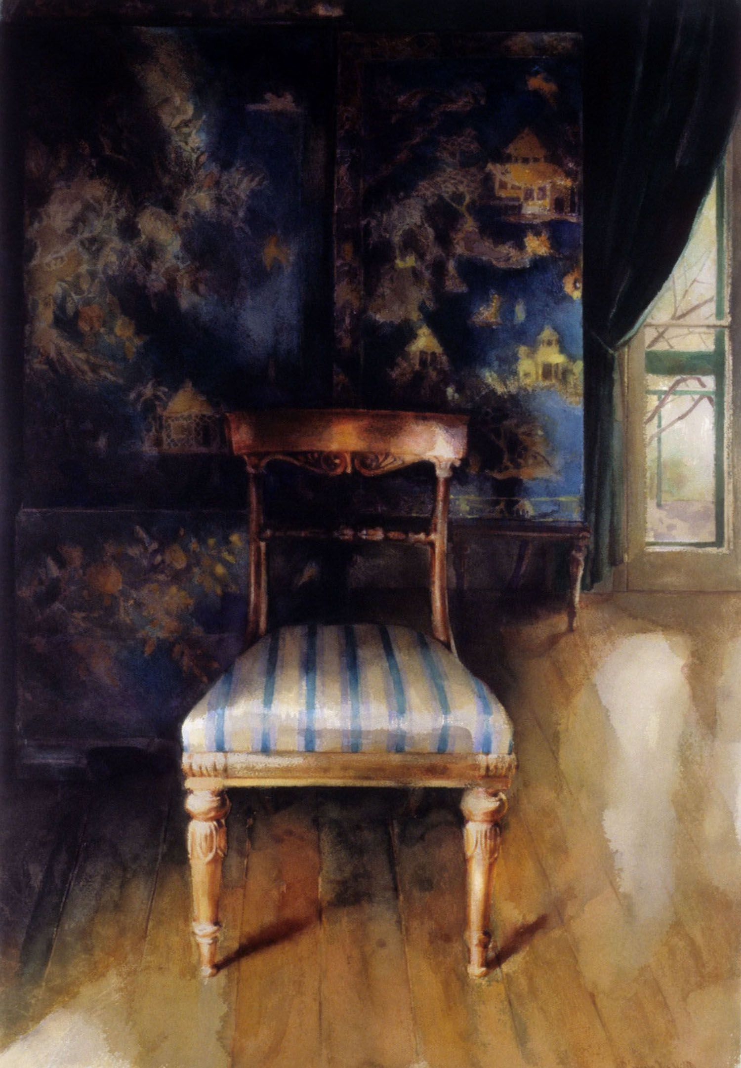 """""""Chair in the Napolian room"""" 1990. 67 x 87cm"""