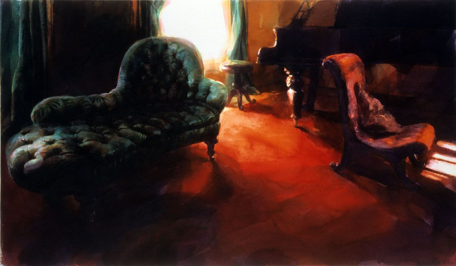 """""""Chaise and piano, Werribee Park""""' 1988. 72 x 130cm"""
