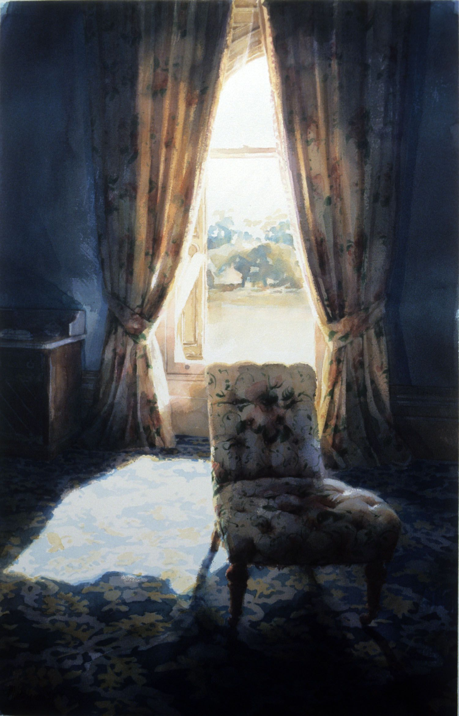 """""""Downstairs room with chair, Werribee Park"""" 1987, 98 x 60cm"""