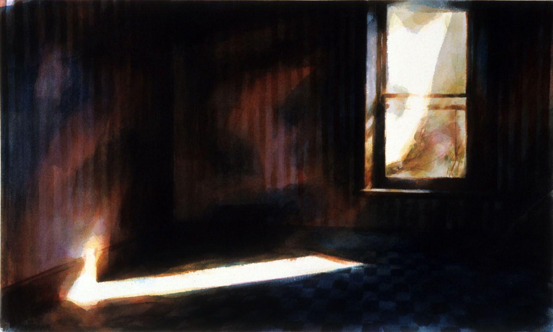 """Pint striped room, Werribee Park"", 1988. 126 x 104cm"