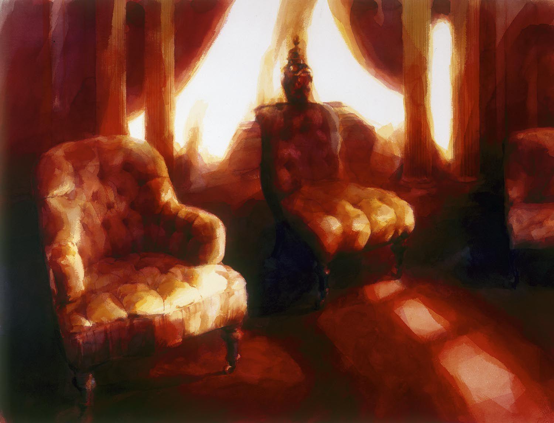 """Three chairs, Werribee park""' 1988. 90 x 120cm"