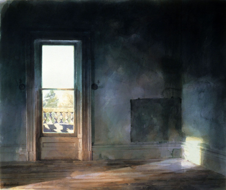 """Upstairs room, Werribee Park"", 1987. 86 x 104cm."