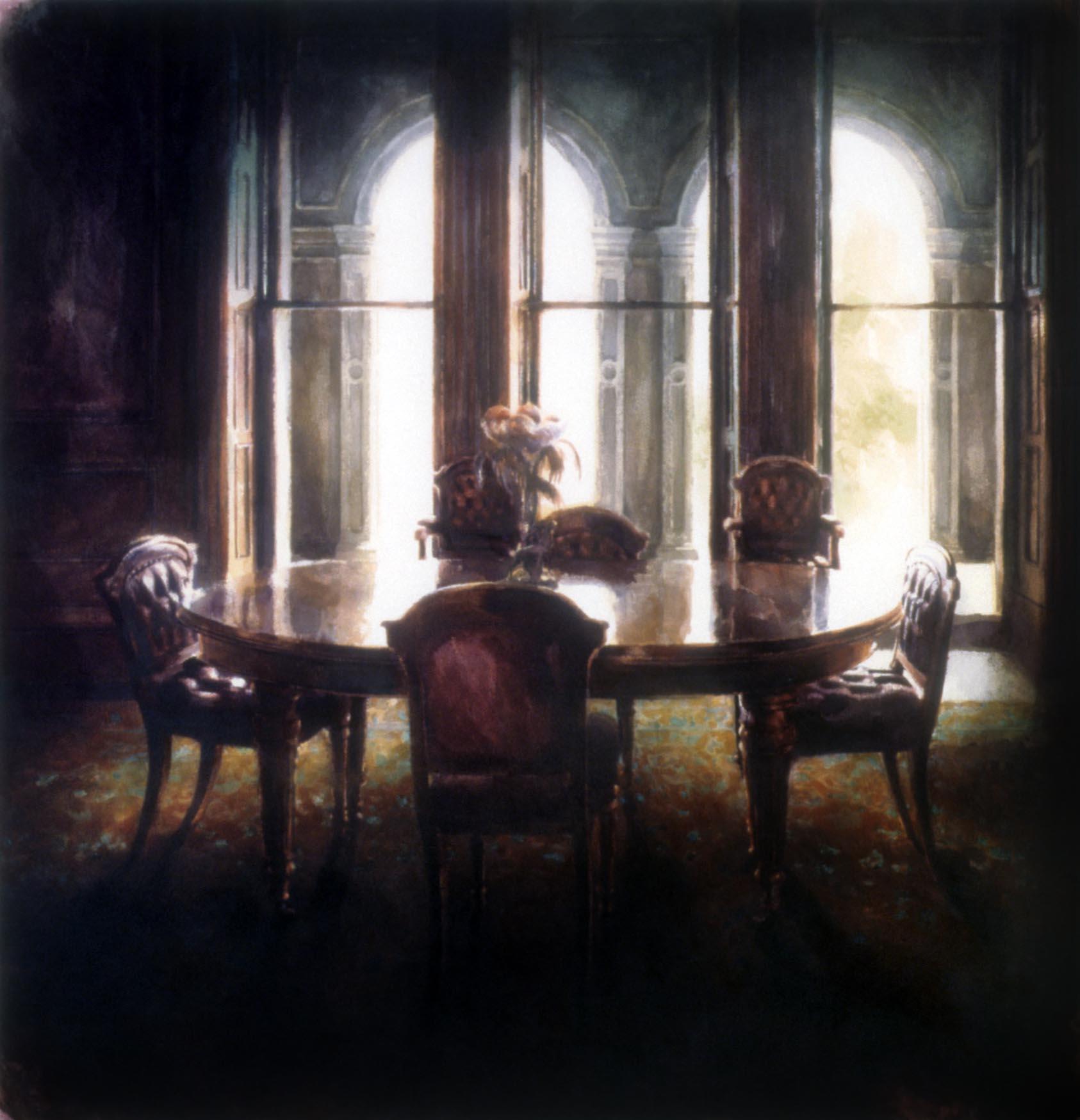 """The dining table, Werribee park"" 1988. 88 x 84cm"