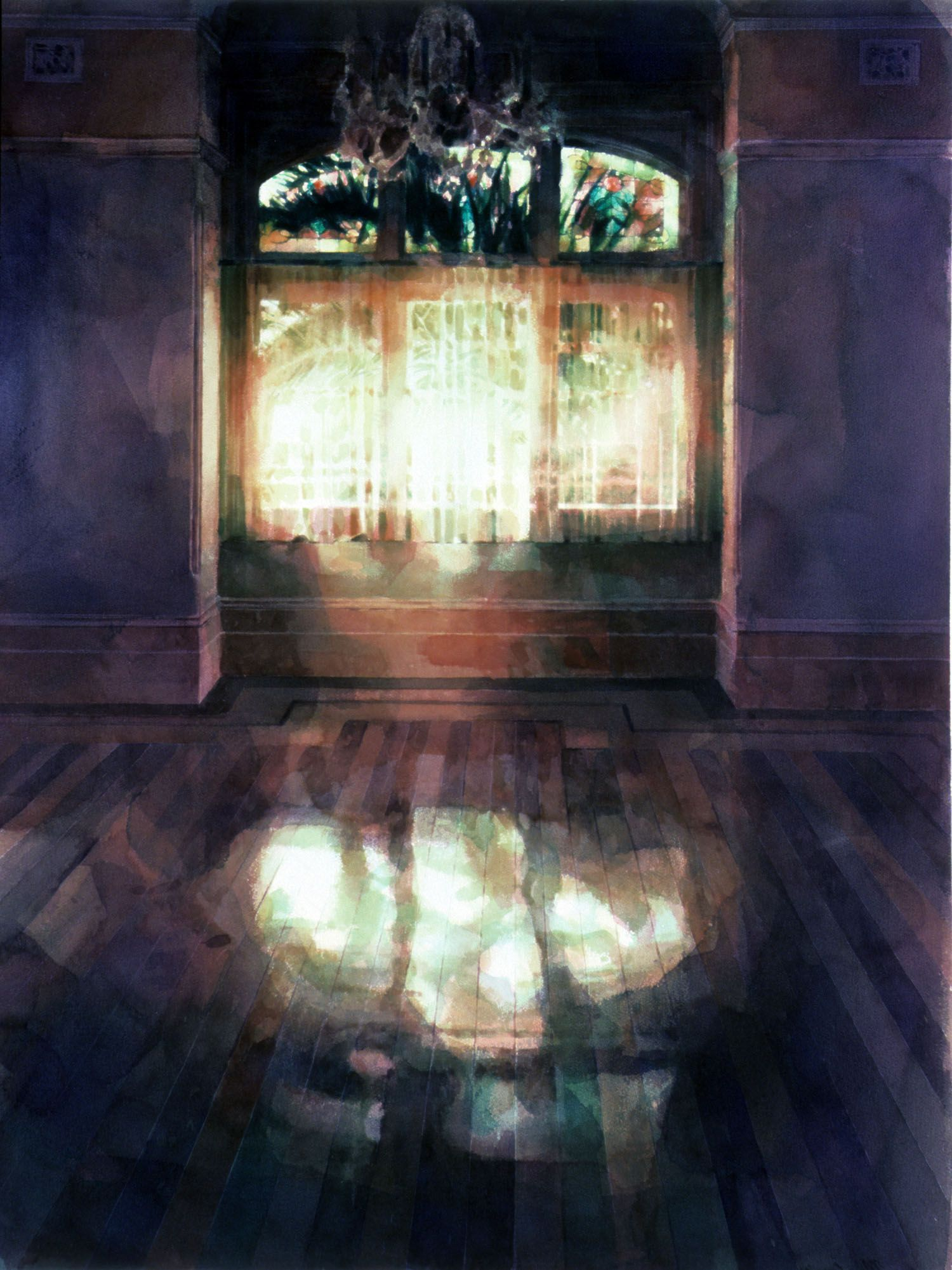 """""""Reflection (palms and coloured glass)"""" 1987. 109 x 81cm"""