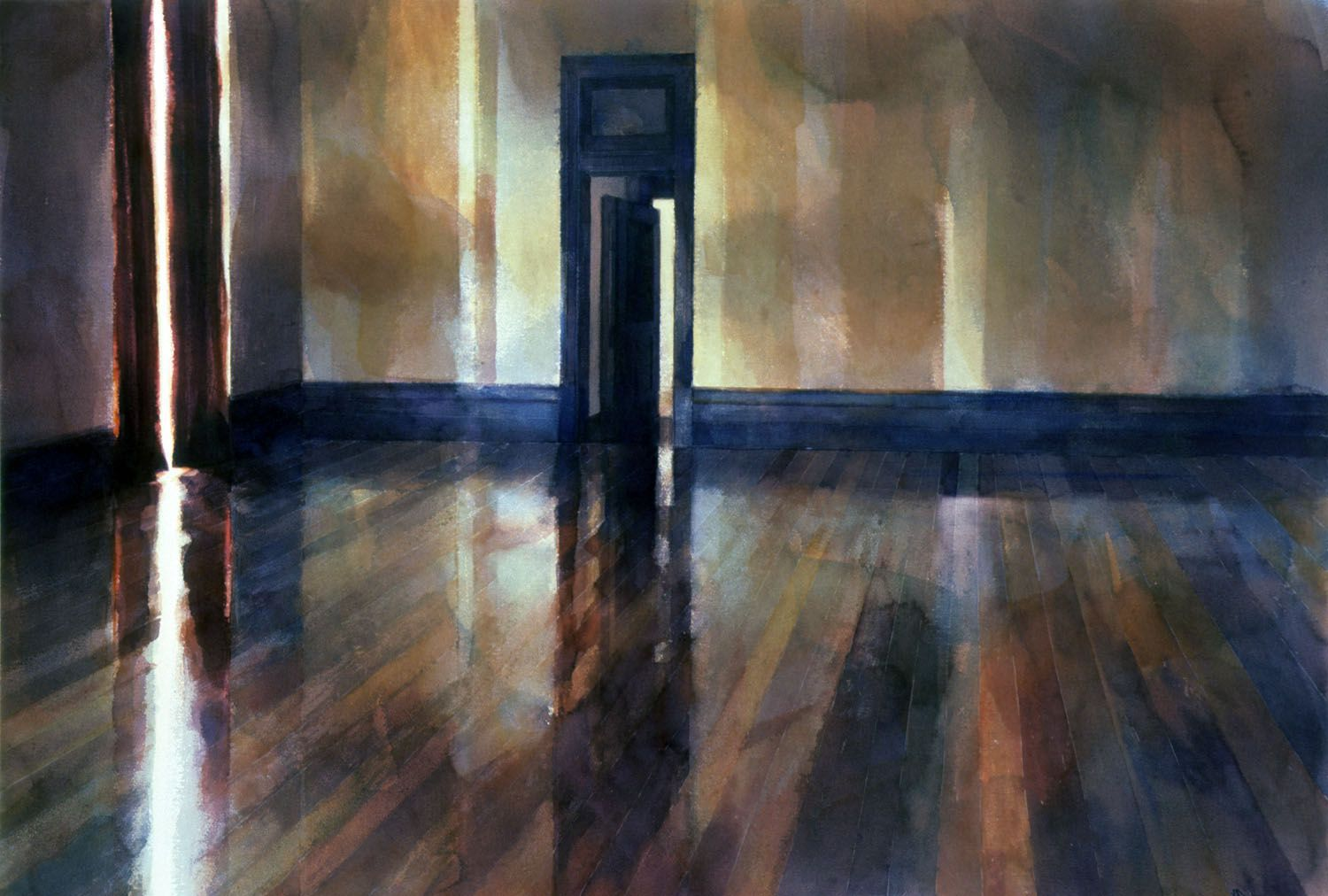 """""""Room with red curtains"""" 1987. 85 x 126cm"""