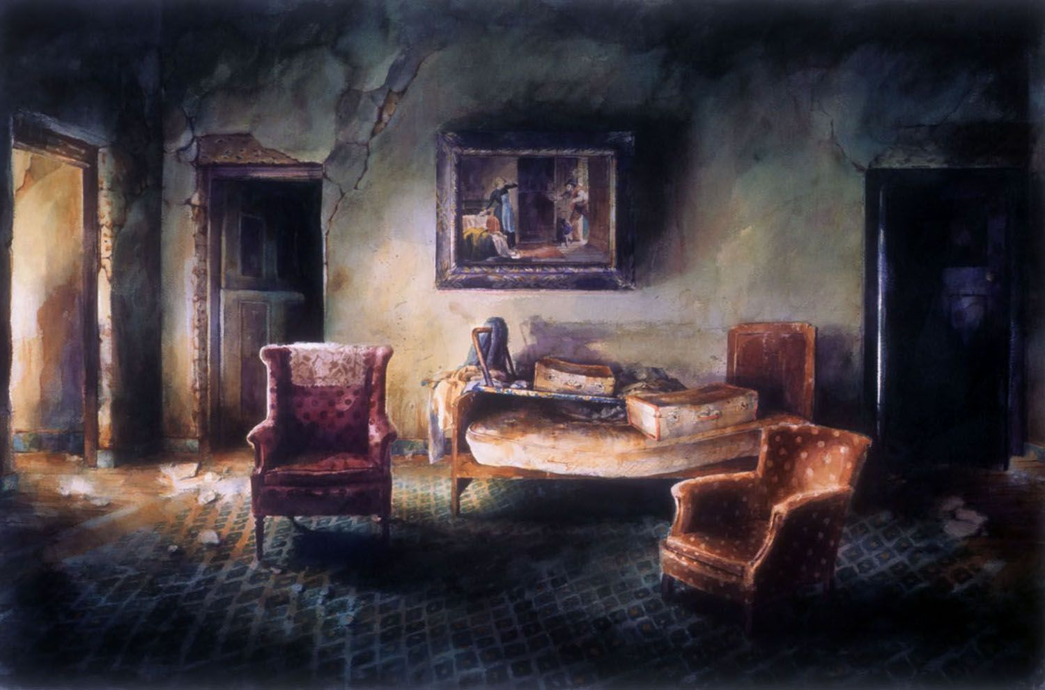 """Bed, painting, and two chairs with suitcases"" 1992. Watercolour on 300gms Arches paper. 80 x 124cm"