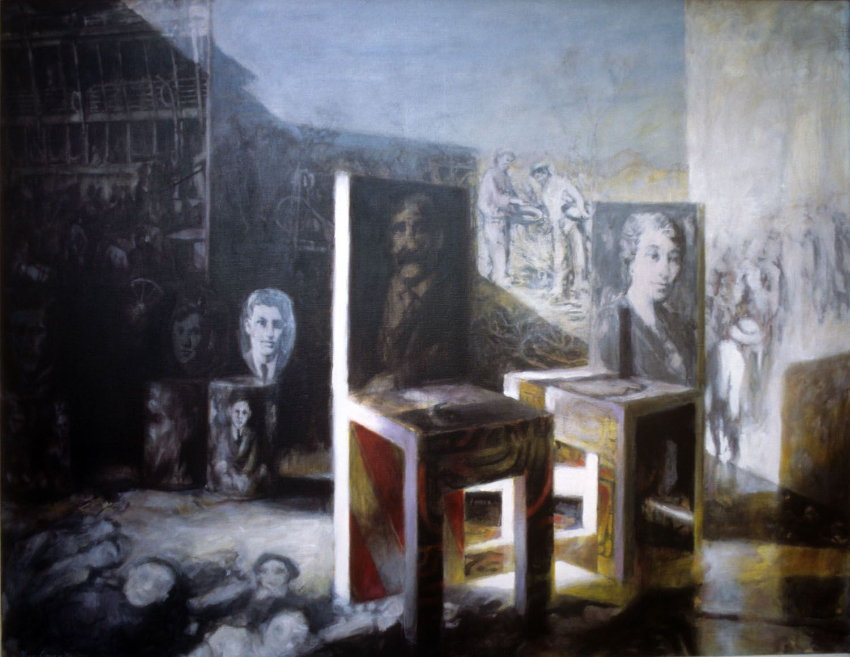 """Arrival of the Innocent"" 1996. Acrylic on linen. 106 x 137cm"
