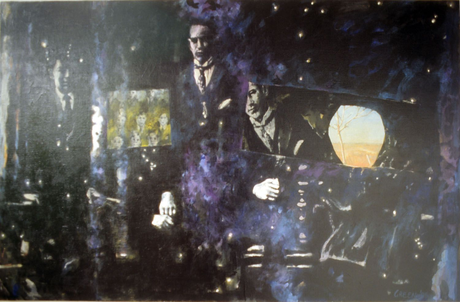 """""""Fathers and Brothers"""" 1995. Acrylic on linen. 82 x 150cm"""