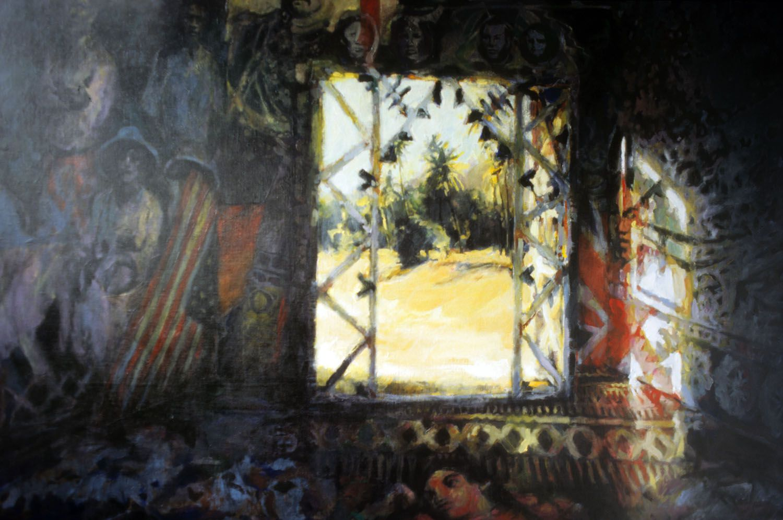 """Family Room"" 1995. Acylic on linen. 101 x 151cm"