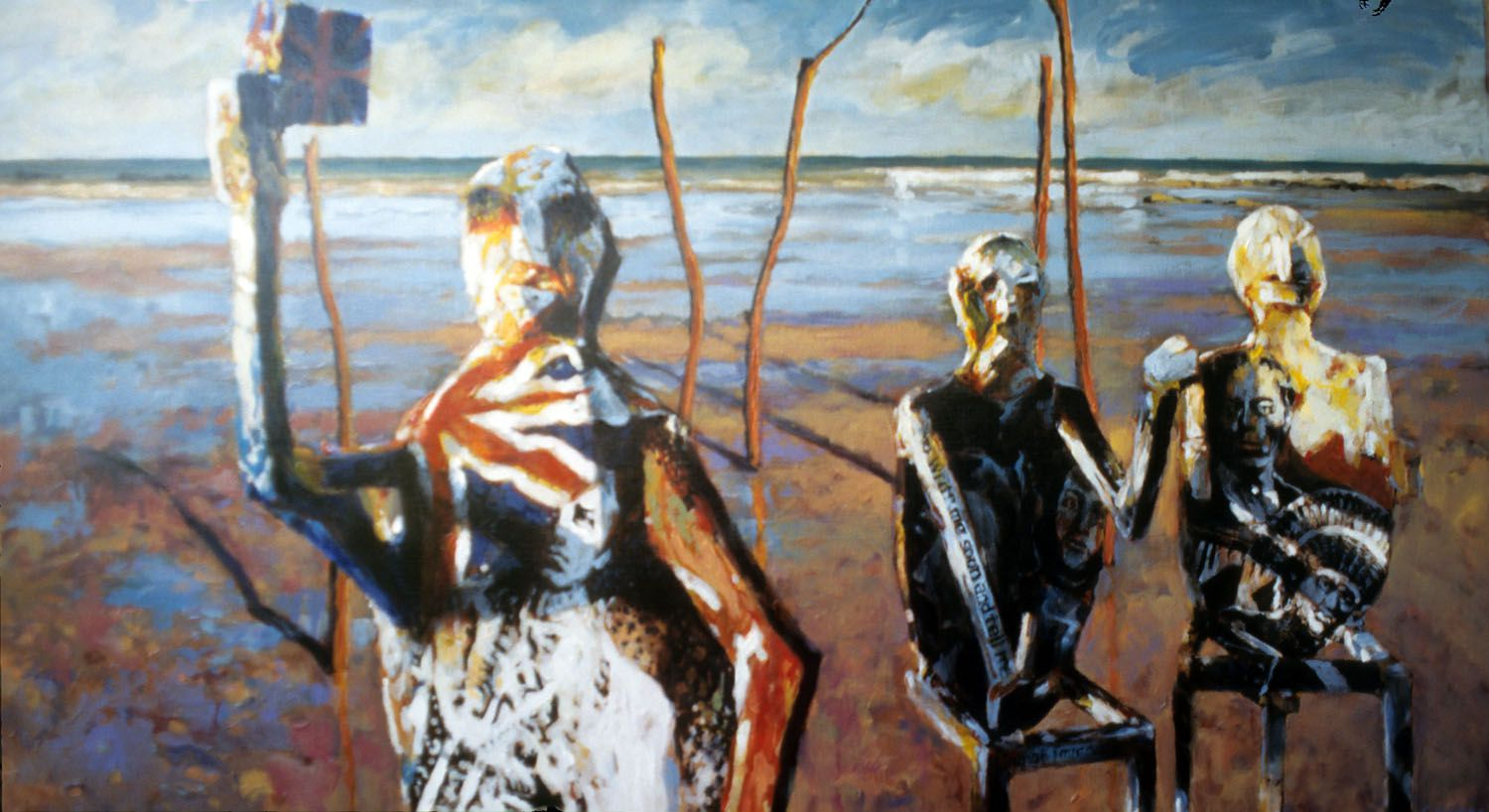 """""""Negotiation of the Guardians"""" 1996. Acrylic on linen. 82 x 150cm"""