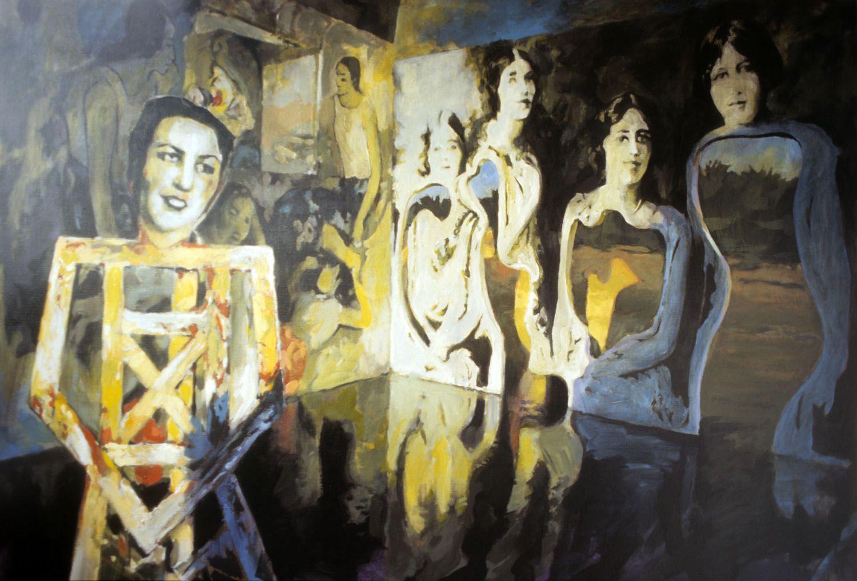 """Sisters"" 1995. Acylic on Linen. 103 x 141cm"