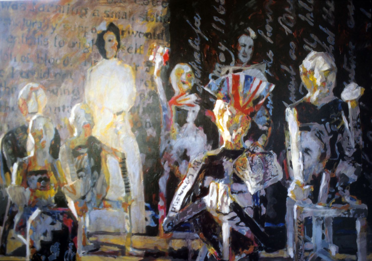 """""""The Gathering Space"""" 1995. Acrylic on linen. 107 x 149cm"""