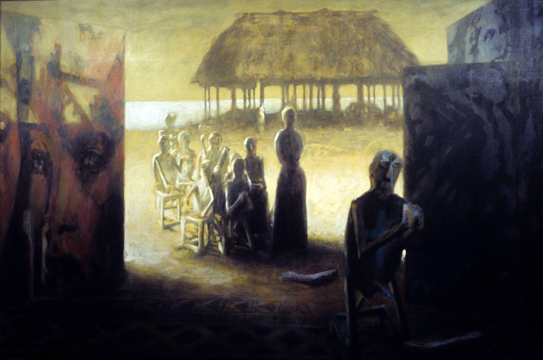 """The immigrants"" 1996. Acrylic on linen.  111 x 187cm"